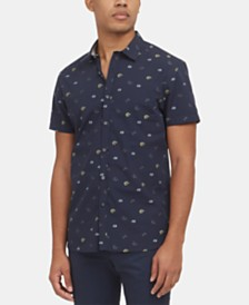 Kenneth Cole New York Men's Dobby Floral-Print Shirt