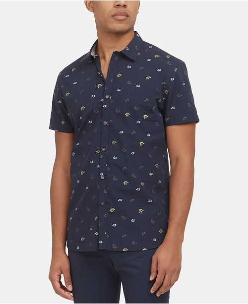 Kenneth Cole Men's Dobby Floral-Print Shirt