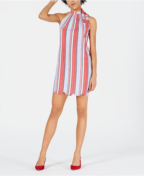 Maison Jules Striped Tie-Neck Dress, Created for Macy's