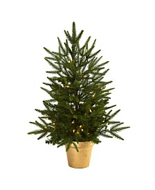Nearly Natural 2.5' Christmas Tree with Golden Planter and Clear Lights