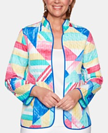 Alfred Dunner Petite Classic  Printed Open-Front Jacket