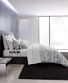 Vera Wang Shibori Grid White Duvet Cover Set, Queen