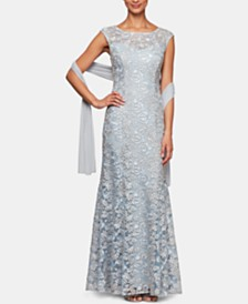 Alex Evenings Embroidered Illusion Gown & Shawl