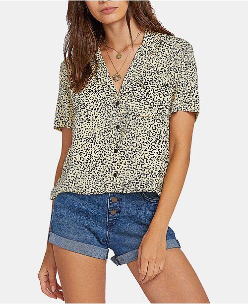 Volcom Juniors' Printed Cropped Shirt