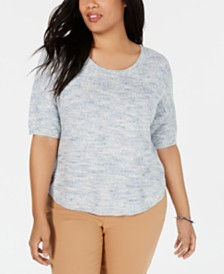 Charter Club Plus Size Cotton Sweater, Created for Macy's