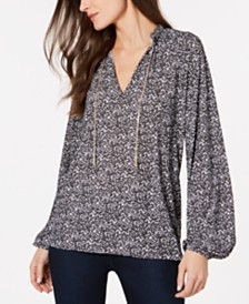 MICHAEL Michael Kors Printed Necklace Top, Regular & Petite