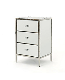 Dorrin Mirror Finished 3 Drawer Side Table, Quick Ship