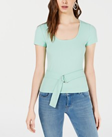 Bar III Ribbed Belted Top, Created for Macy's