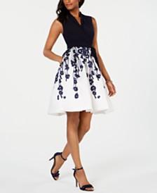 R & M Richards Petite Floral-Print Fit & Flare Dress