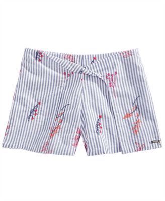 Big Girls Cotton Floral Embroidered Shorts