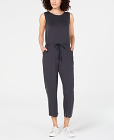 Eileen Fisher Cropped Drawstring Tencel ™ Jumpsuit, Regular & Petite