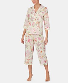 Lauren Ralph Lauren Woven Cotton Notch Collar Top and Capri Pajama Pants Set