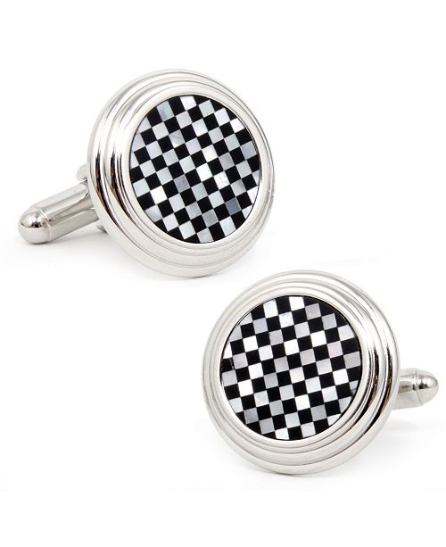 Cufflinks Inc. Onyx and Mother of Pearl Checker Step Cufflinks