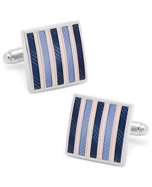 Cufflinks Inc. Pink and Navy Striped Square Cufflinks