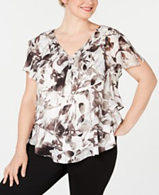 Alex Evenings Plus Size V-Neck Tiered Blouse