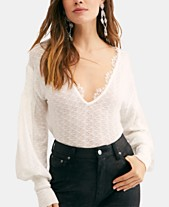 d04f8efb7ce425 Free People Dream Girl V-Neck Bishop-Sleeve Top