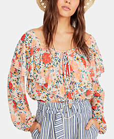 Free People Say It To Me Ruffled Lace-Bottom Bodysuit