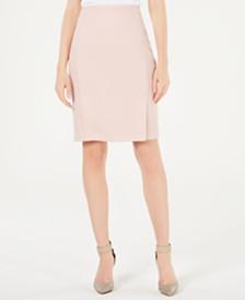 Calvin Klein Petite Twill Side-Pleated Skirt