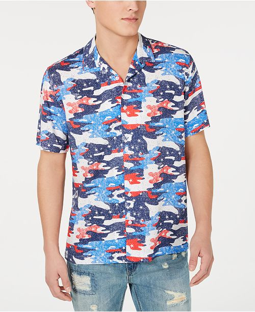 American Rag Men's Red, White & Blue Camo Camp Collar Shirt, Created for Macy's