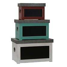 Household Essentials Set of 3 Chalk Board Storage Trunks