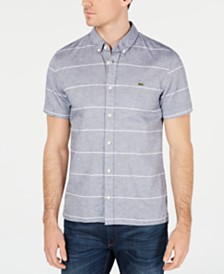 Lacoste Men's Stripe Cotton Linen Blend Oxford Shirt