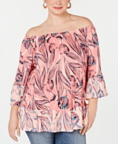 934fe6228 Style   Co Plus Size Printed Off-The-Shoulder Top
