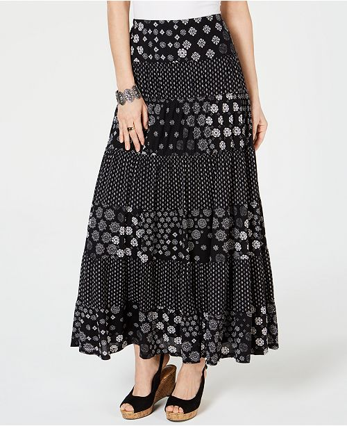 7bf828c3202f ... Style   Co Mixed-Print Tiered Maxi Skirt