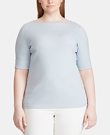 Lauren Ralph Lauren Plus Size Stretch Boatneck T-Shirt