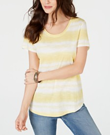 Style & Co Striped Cotton Scoop-Neck T-Shirt, Created for Macy's