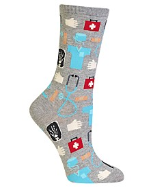 Hot Sox Women's Doctor Fashion Crew Socks