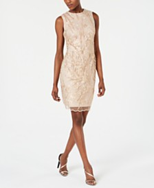 Calvin Klein Sequined Embroidered Sheath Dress