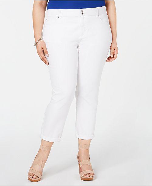 c17fe95cf722a INC International Concepts I.N.C. Plus Size Cropped Boyfriend Jeans ...