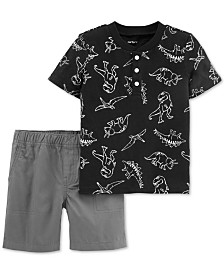 Carter's Toddler Boys 2-Pc. Dino-Print Cotton Henley T-Shirt & Shorts Set