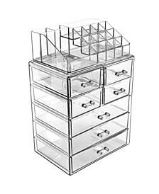 Cosmetics Makeup Storage Case Medium Display Sets - 3 Large 4 Small Drawers + Top