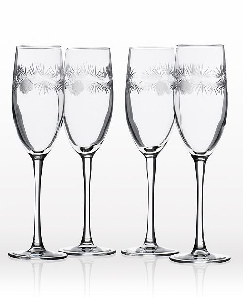 Rolf Glass Icy Pine Flute 8Oz - Set Of 4 Glasses
