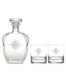 Compass Rose 3 Piece Gift Set - Whiskey Decanter And Rocks Glasses