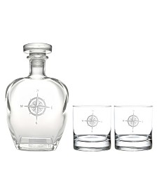 Rolf Glass Compass Rose 3 Piece Gift Set - Whiskey Decanter And Rocks Glasses