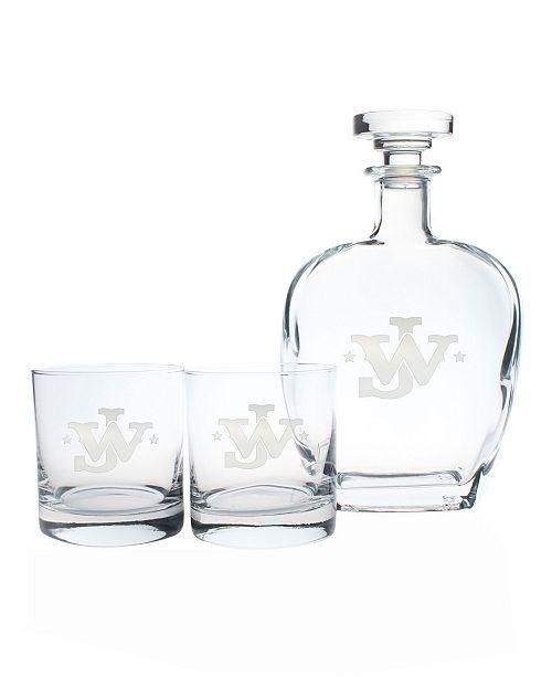 "Rolf Glass John Wayne ""Jw"" 3 Piece Gift Set - Whiskey Decanter And Rocks Glasses"