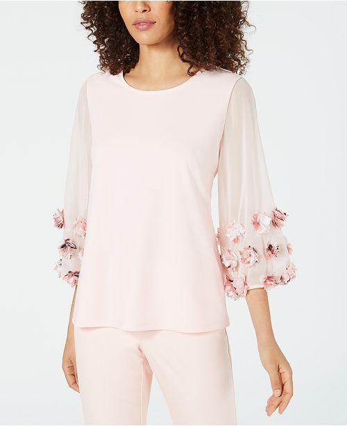 Alfani Floral-Appliqué Top, Created for Macy's
