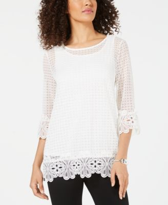 3/4-Sleeve Crochet Top, Created for Macy's
