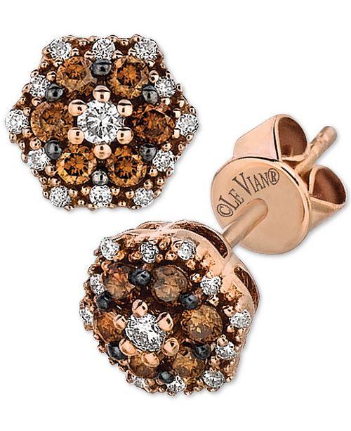 Le Vian Chocolatier® Diamond Cluster Stud Earrings (1/3 ct. t.w.) in 14k Rose Gold