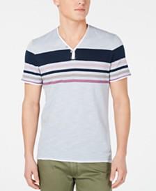 I.N.C. Men's Stripe Split-Neck T-Shirt, Created for Macy's
