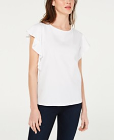 Marella Danzica Cotton Flutter-Sleeve Top