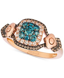 Le Vian Exotics® Diamond Halo Cluster Ring (5/8 ct. t.w.) in 14k Rose Gold