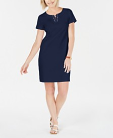 Karen Scott Cotton Lace-Up Shift Dress, Created for Macy's