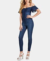 14566d97357 GUESS Sala Off-The-Shoulder Denim Jumpsuit