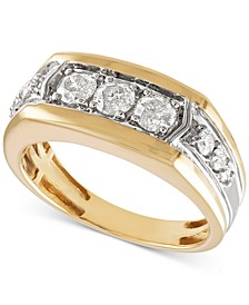 Men's Diamond Ring (1 ct. t.w.) in 10k Gold & 10k White Gold