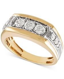 Men's Diamond Ring (1 ct. t.w.) in 10k Gold & 10k White Gold