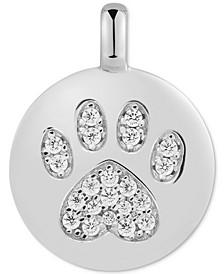 "Swarovski Zirconia Pawprint ""Puppy Love"" Reversible Charm Pendant in 14k Gold-Plated Sterling Silver"