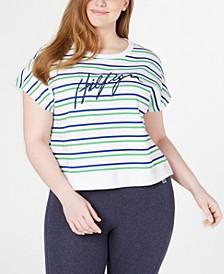 Plus Size Striped Short-Sleeve Sweatshirt